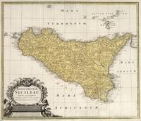 Vintage Map of Sicily Italy (1747)