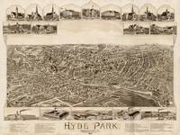 Vintage Pictorial Map of Hyde Park MA (1890)