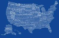United States National Parks Typography Map