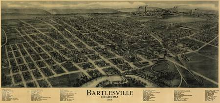 Vintage Pictorial Map of Bartlesville OK (1917)