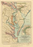 Vintage Virginia and Maryland Colonies Map (1905)