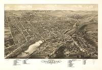 Vintage Pictorial Map of Waukesha WI (1879)