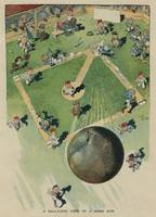 Vintage Baseball Home Run - Birds Eye View Illustr