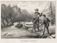 Vintage Illustration of Salmon Fishing (1872)