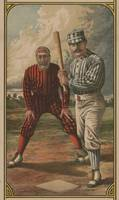 Vintage Baseball Batter and Catcher Illustration (