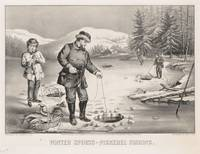 Vintage Illustration of Ice Fishing (1872)