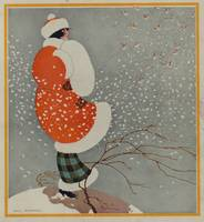 Vintage Christmas Lady in Blowing Snow (1914)