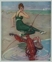 Vintage Lobster Guitar Serenade Illustration (1914