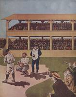 Vintage Illustration of a Baseball Game (1909)
