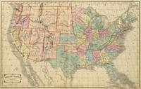 Vintage Map of The United States (1864)