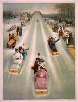Vintage Illustration of a Toboggan Race (1886)