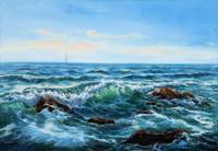 Original oil painting showing waves in  ocean or s