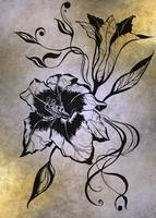 Ink Drawing Lily Elegance Golden