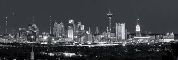 San Antonio Skyline Night Pano BW