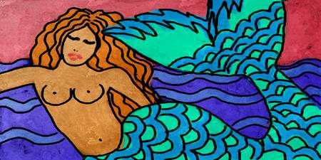 Colorful Abstract Mermaid Painting