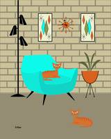 Orange Cats with Brick Wall and Gravel Art