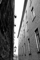 Brick Building Alley in Black and White