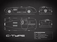 Jaguar C-Type Blueprint Black