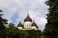 The onion-shaped cupolas of the Russian Orthodox C