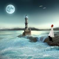 Lighthouse at Full Moon