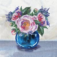 Blue Vase Flowers Bouquet Impressionism