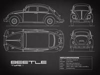 The Classic Beetle Blueprint Black