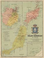 Vintage Map of The Canary Islands (1916)