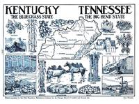 Vintage Illustrative Map of Kentucky & Tennessee (