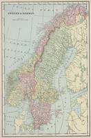 Vintage Map of Norway and Sweden (1901)
