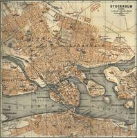 Vintage Map of Stockholm Sweden (1909)
