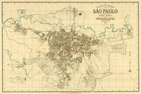 Vintage Map of Sao Paulo Brazil (1916)