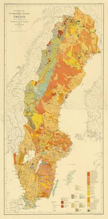 Vintage Geological Map of Sweden (1910)