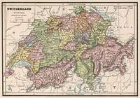 Vintage Map of Switzerland (1882)