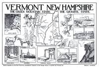 Vintage Map of Vermont and New Hampshire (1912)