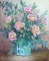 Floral Roses with Leaves in Vase Bouquet Painting