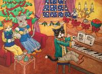 Christmas Piano and Tea Cats