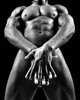 Man nude or naked with great body. Image in black