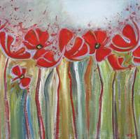Abstract Red Poppies by Canadian artist Suzanne Mc