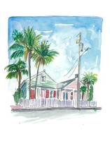 Key West Florida Conch Dream Houses in Green and P