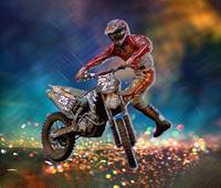 Dirt Bike Rider in Crystal Rain Storm