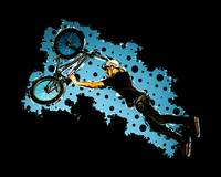 xxBMX Flying Stunt of Black and Blue Dots Black Bk