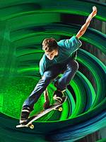 Skateboarding in a Whirling Neon Green Tube