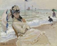 Camille on the Beach, Trouville by Monet