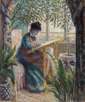 Madame Monet Embroidering by Monet