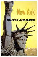 New York United Airlines Vintage Poster