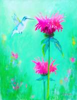 Hummingbird with Beebalm Flowers