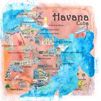 Havana Cuba Illustrated Travel Poster Favorite Map