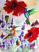Hummingbirds on Red Poppies Oil Painting