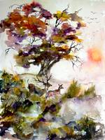 Autumn Oak Tree and Deer Watercolors