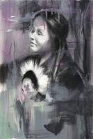 Water color native woman eyes closed 1